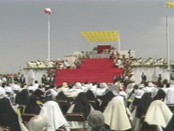 pope john paul ii speaks before the people of peru during one of his two papal visits to the area. - latin america stock videos & royalty-free footage