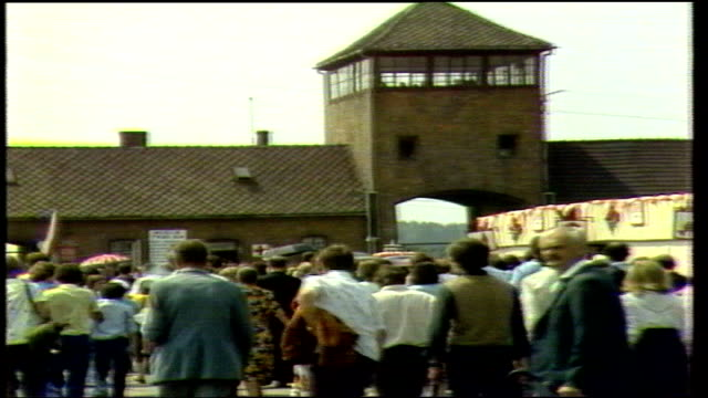 pope john paul ii visit to poland - auschwitz; poland: auschwitz: gv zoom across field camp as people mill about sof:mass three police stand in grass... - pope john paul ii stock videos & royalty-free footage