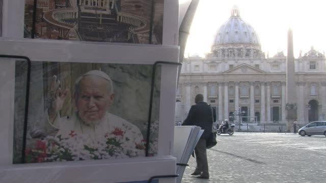 stockvideo's en b-roll-footage met pope john paul ii will be made a saint on april 27 along with john xxiii and while rome prepares for the big day the citys wax work museum has... - pope john xxiii