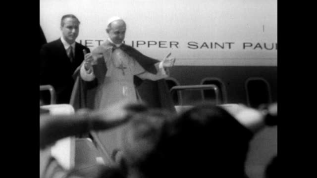 / pope paul vi exits the airplane at istanbul airport / eastern orthodox patriarch athenagoras / the pope and the patriarch meet each other in a... - pope stock videos & royalty-free footage