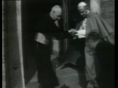 pope paul vi welcomes hungarian cardinal jozsef mindszenty to the tower of st john his vatican residence - religion or spirituality video stock e b–roll