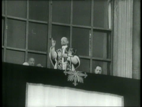 pope pius xii addresses massive crowd at the vatican / signs held at catholic demonstration / pope gives benediction / nuns make sign of cross /... - nun stock videos & royalty-free footage