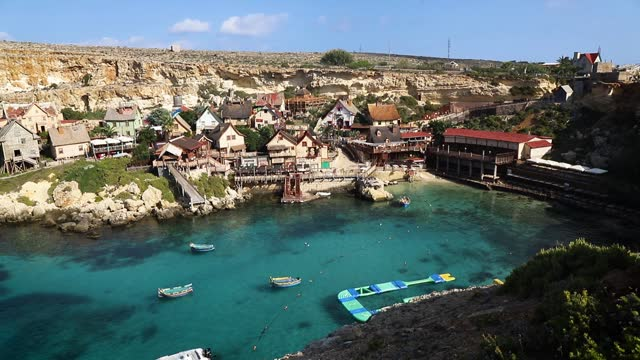 popeye village in the sunny day, malta - english culture stock videos & royalty-free footage