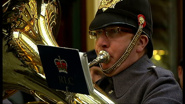poppy day appeal duke and duchess of cambridge join appeal motorcyclists towards city of london gvs royal british legion brass band playing sot man... - brass stock videos & royalty-free footage