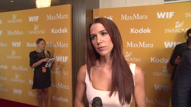 poppy montgomery on why she wanted to support women in film what women are inspiring to her and why empowering other women is important at the 2012... - the beverly hilton hotel stock videos & royalty-free footage