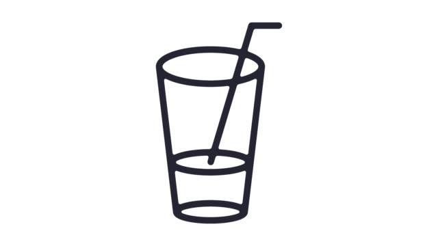 beliebte bar getränke linie symbol animation mit alpha - verherrlichung stock-videos und b-roll-filmmaterial