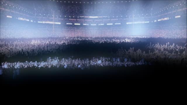 CGI, Popular music concert audience illuminated with spotlights