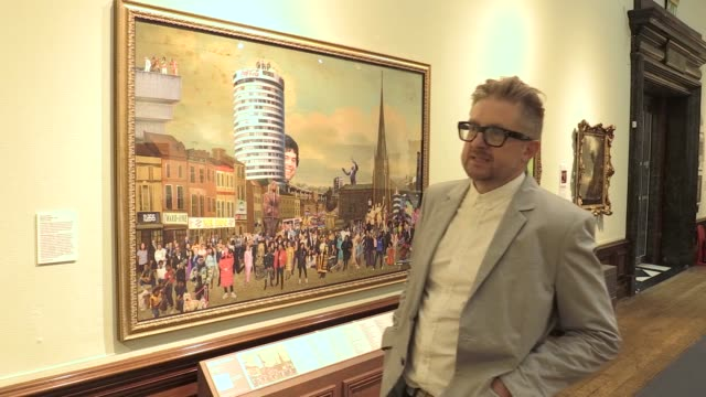 popular satirical artist 'cold war steve' has displayed a piece of work to launch the reopening of the birmingham museum and art gallery on wednesday... - satire stock videos & royalty-free footage