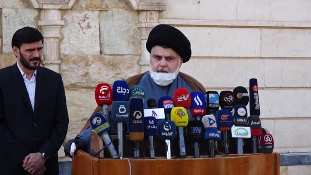 populist shiite cleric moqtada sadr says he backed early elections overseen by the un, in a rare press conference outside his home in the iraqi... - najaf stock videos & royalty-free footage