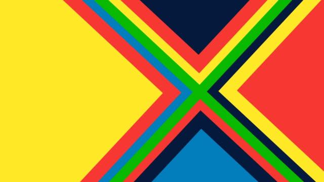 vídeos de stock e filmes b-roll de pop-up triangle shapes animation - multi coloured