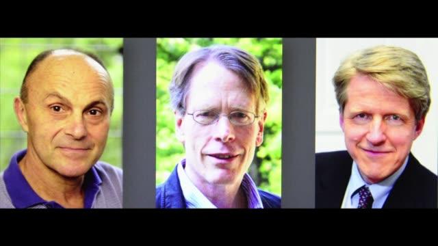 vídeos y material grabado en eventos de stock de por sus trabajos pioneros en identificar las tendencias de los mercados financieros el premio nobel de economia fue otorgado este lunes a tres... - ee.uu