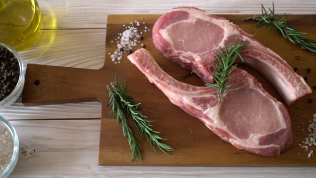 pork chop raw with ingredient