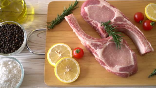 pork chop raw with ingredient