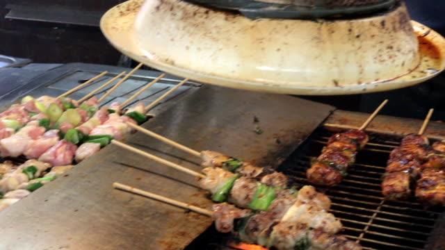 BBQ pork in Myeong-dong street , South korea