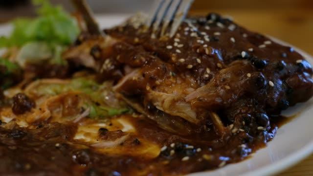 pork ribs steak - wood plate stock videos & royalty-free footage