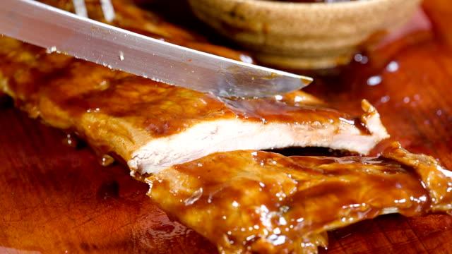 pork ribs - rib food stock videos and b-roll footage