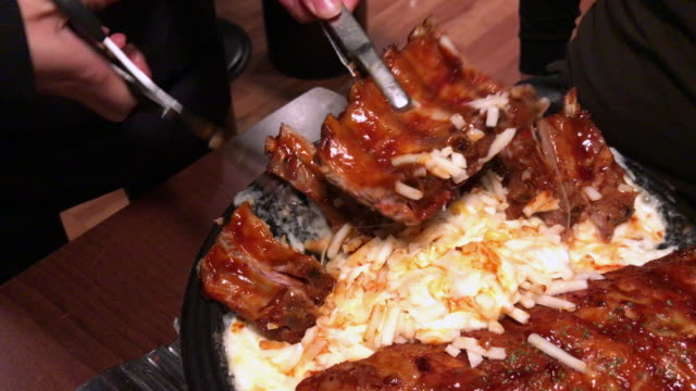 Pork ribs with cheese in hot plate , Myeong-dong food , South Korea