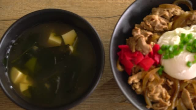 pork rice bowl with egg (donburi) - donburi stock videos and b-roll footage