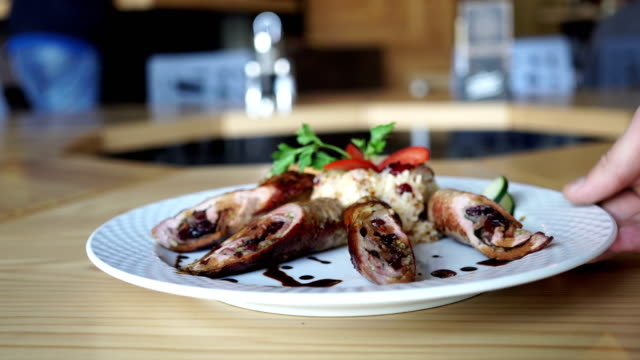 pork slices filled and rolled with cranberry sauce - garnish stock videos & royalty-free footage