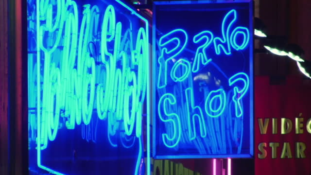 cu zi zo 'porno shop' neon advertising at night, paris, france - x rated stock videos and b-roll footage