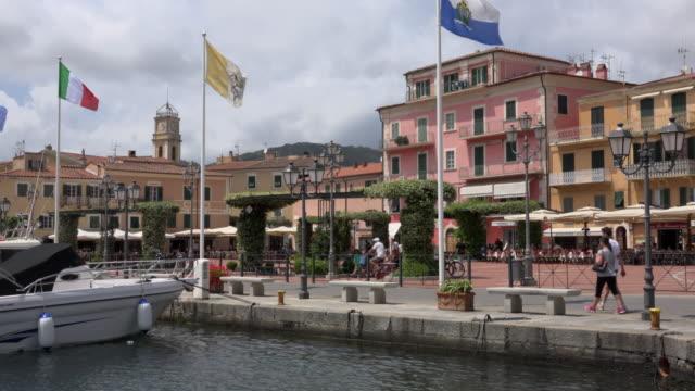 port at piazza matteotti in porto azzurro - island of elba stock videos & royalty-free footage