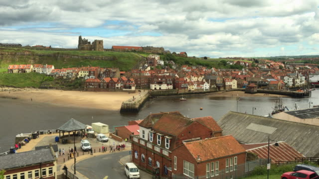 port at the seaside town of whitby. - whitby north yorkshire england stock videos & royalty-free footage