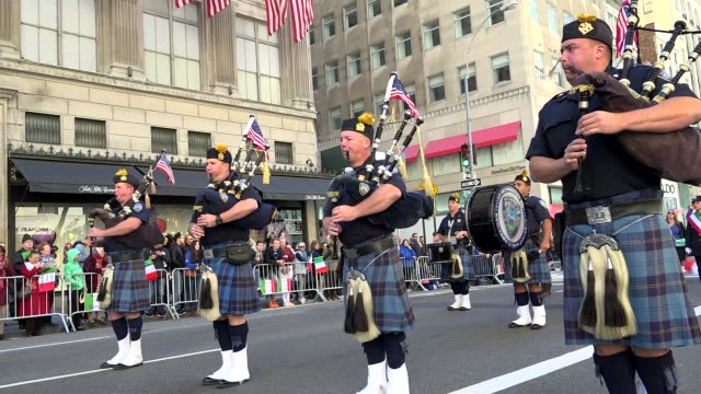 port authority police columbia association columbus day parade on 5th avenue midtown manhattan new york city usa - port authority stock videos & royalty-free footage