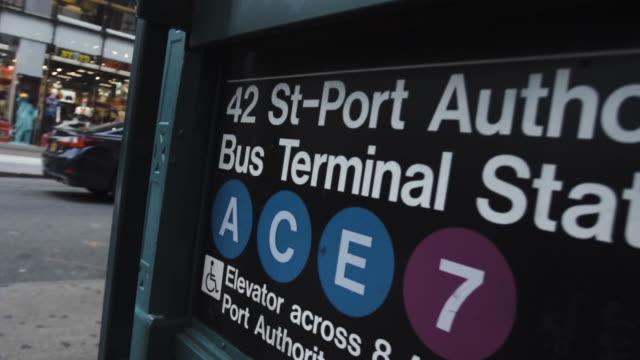 port authority - subway entrance - establishing shot - new york city - port authority stock videos & royalty-free footage