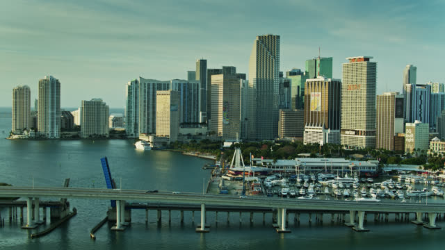 port boulevard causeway with downtown miami and brickell key beyond - aerial - biscayne bay stock videos & royalty-free footage