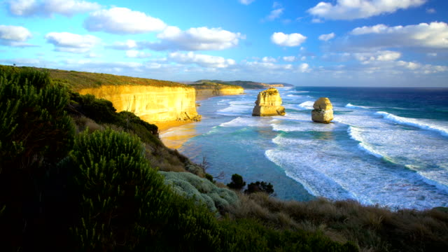 port campbell national park limestone cliffs victoria australia - great ocean road stock videos & royalty-free footage