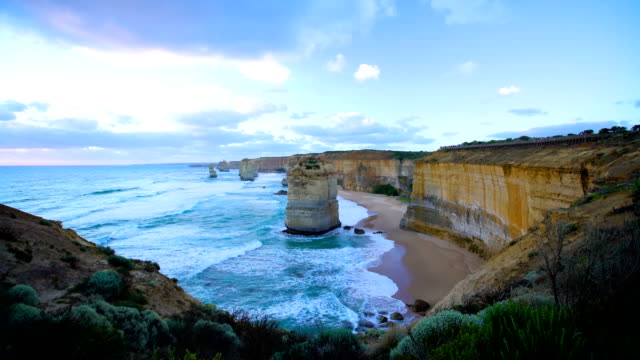 port campbell national park limestone cliffs victoria australia - port campbell national park stock videos & royalty-free footage