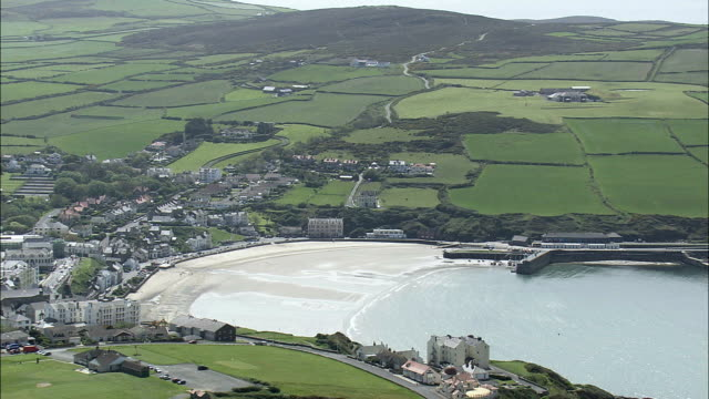 port erin  - aerial view -, isle of man - isle of man stock videos & royalty-free footage