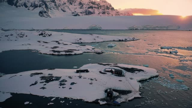port lockroy - antarctica sunset stock videos & royalty-free footage