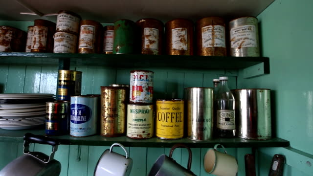 port lokroy on wienke island, antarctica: interior of the british post office and museum in antarctica - canned food stock videos & royalty-free footage