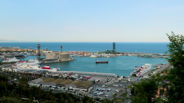 port of barcelona, barcelona, spain - カタルーニャ州点の映像素材/bロール