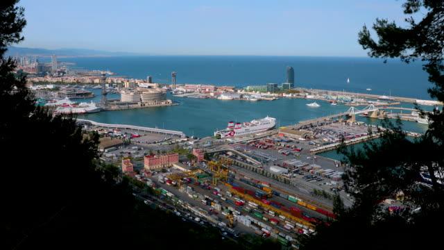 vídeos de stock e filmes b-roll de port of barcelona, barcelona, spain - porto de barcelona