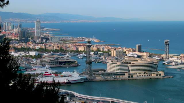 vídeos de stock e filmes b-roll de port of barcelona & world trade centre, barcelona, spain - porto de barcelona