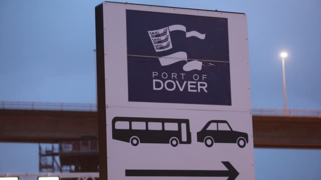 a port of dover sign at dawn in dover uk on thursday october 15 2020 european leaders will gather in brussels for a summit on thursday as discussions... - arrow symbol stock videos & royalty-free footage
