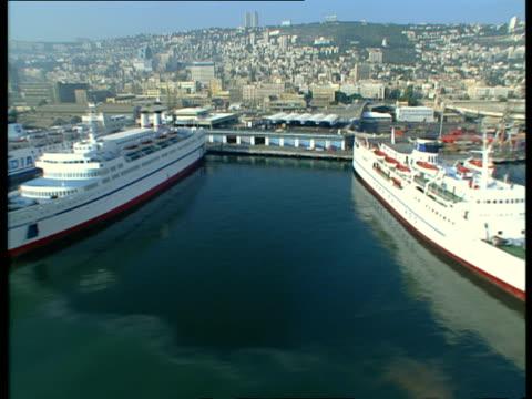 aerial ws port of haifa, israel - haifa stock videos and b-roll footage