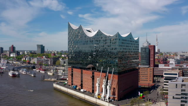 port of hamburg aerial view - concert hall stock videos & royalty-free footage