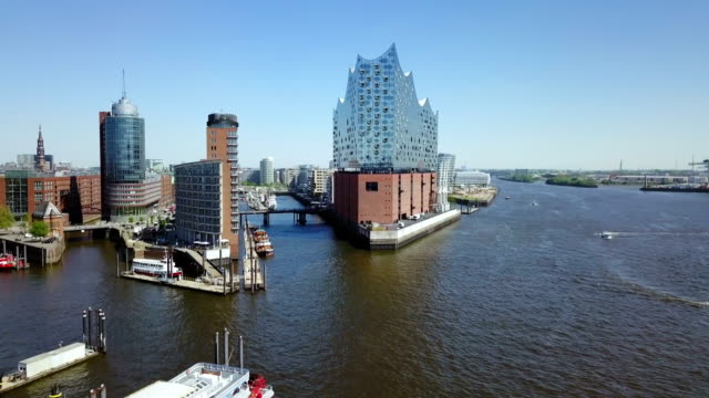 port of hamburg aerial view - hamburg germany stock videos & royalty-free footage