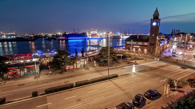 port of hamburg blue port time lapse - passenger train stock videos & royalty-free footage