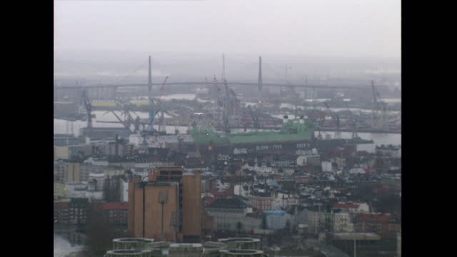 ws port of hamburg cranes and elbe river; 1998 - 1998 stock videos & royalty-free footage