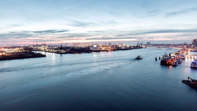 port of hamburg time lapse - hamburg germany stock videos & royalty-free footage