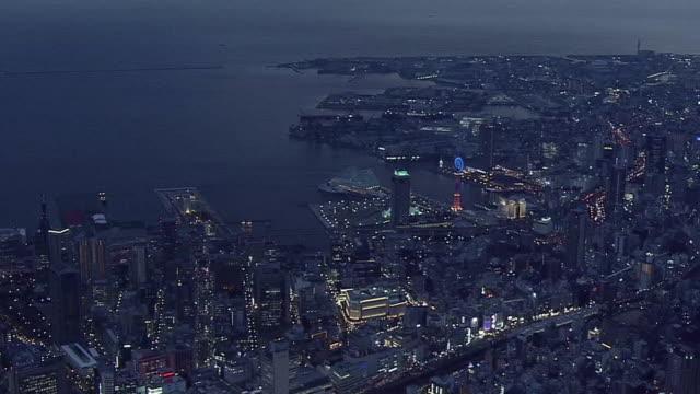 AERIAL, Port Of Kobe In Twilight, Japan