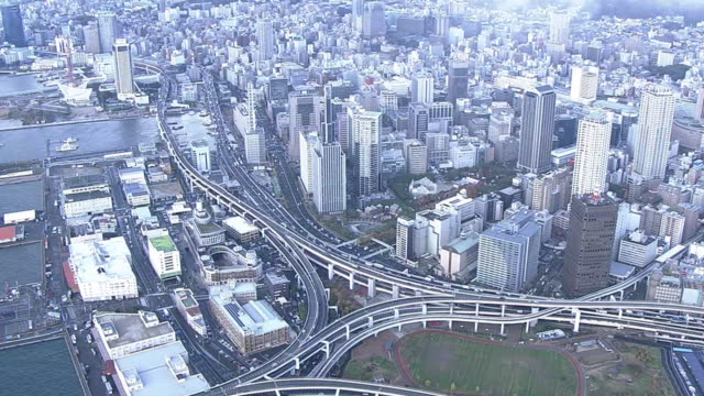 aerial, port of kobe, japan - insel honshu stock-videos und b-roll-filmmaterial