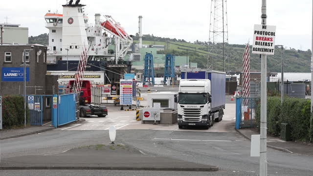 port of larne with anti northern ireland posters in larne, northern ireland, u.k. on wednesday, june 9, 2021. - harbour stock videos & royalty-free footage