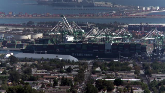 port of los angeles / long beach one of the busiest container ports in the u.s. - long beach california video stock e b–roll