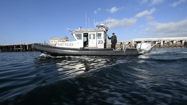 port of los angeles police 25-foot safeboat patrols the main channel of port of los angeles on april 16, 2013 in san pedro, california. the port of... - port of los angeles stock videos & royalty-free footage