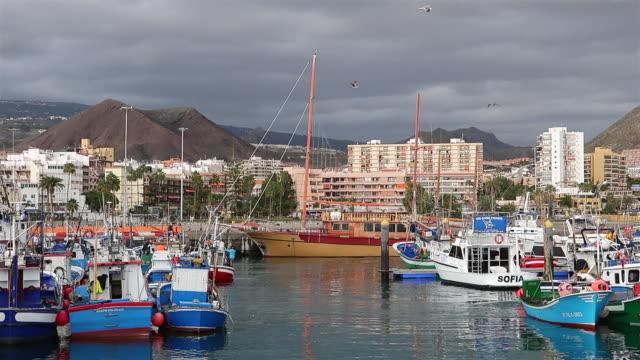 ポートのロス ・ クリスティーナノス テネリフェ南/カナリア諸島 - スペイン - フェリーターミナル点の映像素材/bロール